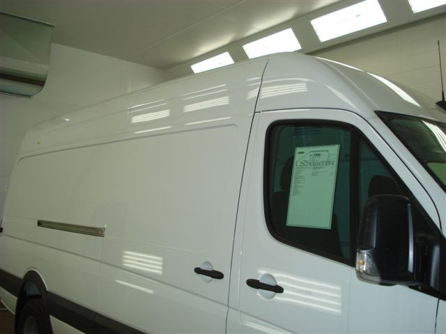 Sprinter Van 3/4 view in paint booth