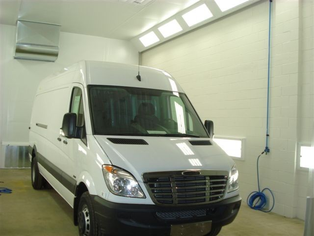 Sprinter Van in the paint booth