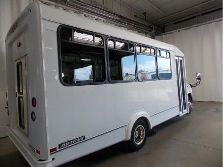 Commercial Bus - 15 passenger 3/4 rear view